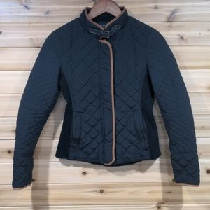 Zara Black Quilted Jacket with Brown Trim Small
